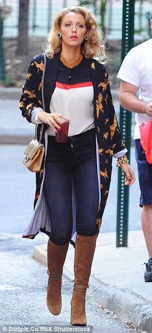 Blake Lively wearing Guuci Suede Knee-High Boots in New Marron Glace and J Brand 23110 Maria in Oblivion