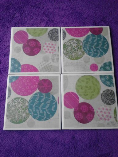 Set of 4 decoupaged tile coasters. Cirlcles by BlackwellsBoutique, $8.00