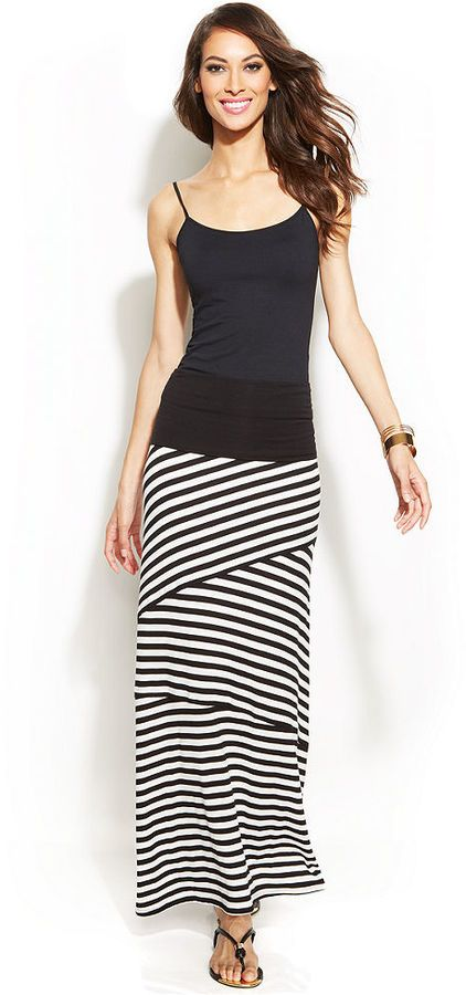 layered stripes are slimming...this is a look to buy every time you see it! INC Convertible Maxi Skirt