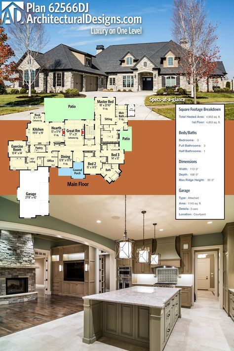 Yes ❣️Architectural Designs Luxury House Plan 62566DJ. The home gives you 3 beds, 4 baths and over 4,800 square feet of heated living space.