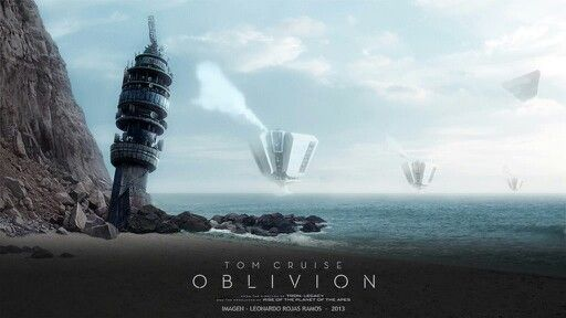 Afiche pelicula oblivion 2013, playa quintay, torre entel, hidroplataformas. TET.