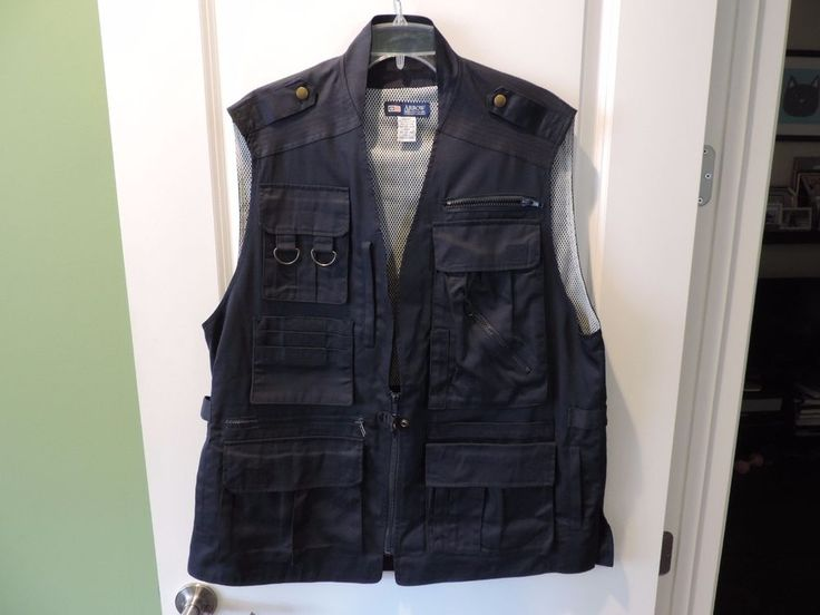 Arrow Navy Blue Safari Photographers Vest SZ L Tons Of Pockets Mint Must See #Arrow #Vest