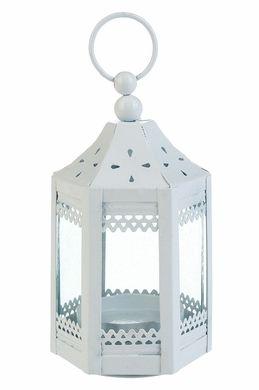 "4.5"" White Pagoda Hurricane Candle Lantern"