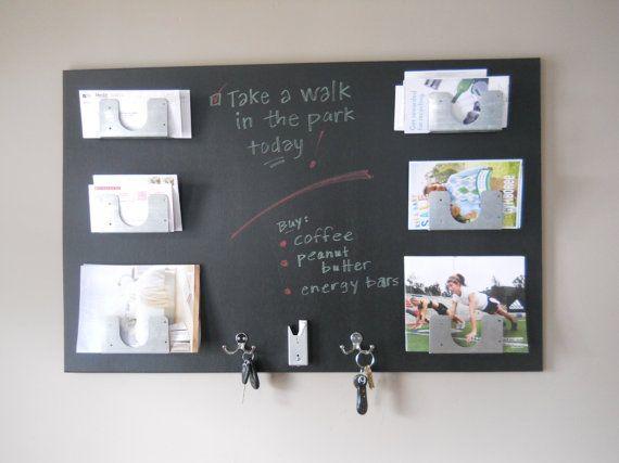 mail organizer modern industrial chalkboard wood wall mounted metal pockets and hooks - Chalkboard Decor