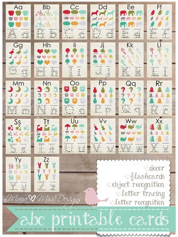 Alphabet Cards - Custom Designed Free Printables http://www.mamamiss.com ©2013