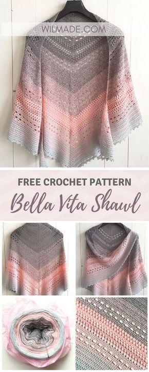 Free crochet pattern for this Bella Vita Shawl on wilmade.com.