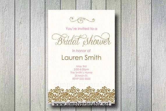 Bridal Shower Invite Gold & Pink Gold Bridal by simplyprintable