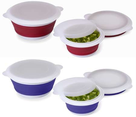 collapsable bowls with snap on lids   camping storage containers