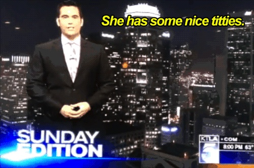 KTLA weather man enthusiastically declares guest has some nice titties photo