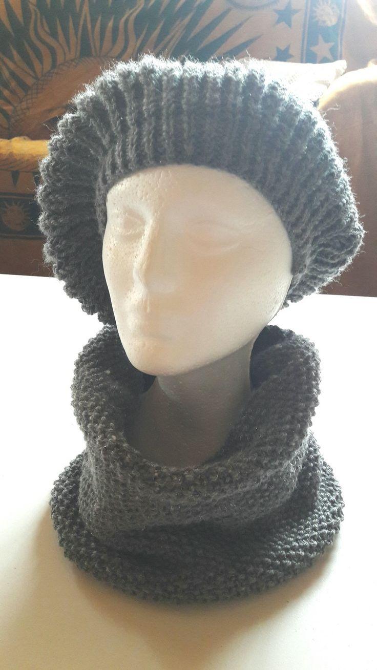 Béret et snood tricotés à la main coloris gris cendré : Chapeau, bonnet par boh-z-arts