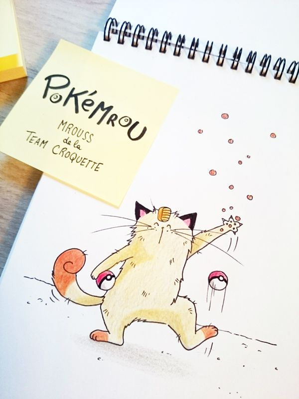 Et voici un croquis de Miaouss de la team rocket version Mrou le chat ! #PokemonGo #neko #meowth #sketch of #cat