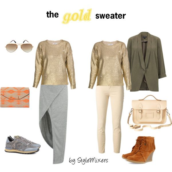 """""""The Gold Sweater; buy now, wear later"""" by stylemixers on Polyvore"""