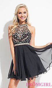 Buy Short Illusion Sweetheart Dress with a Sheer Back by Rachel Allan at PromGirl