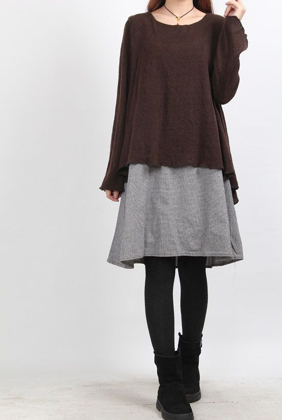 brown layered long dress by MaLieb on Etsy
