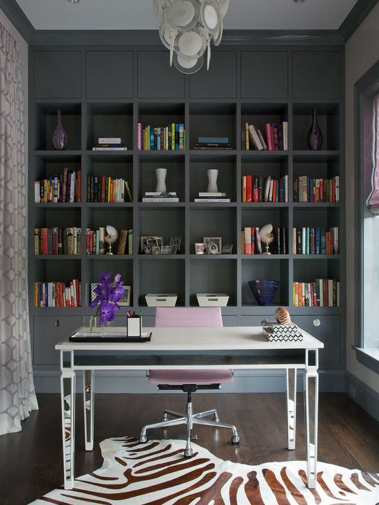 Northworks Architects: Stunning home office with floor to ceiling gray built-in cabinets and gray crown ...