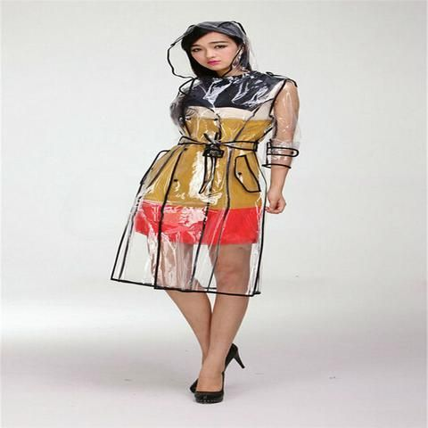Rainwear Transparent Vinyl Long Raincoat