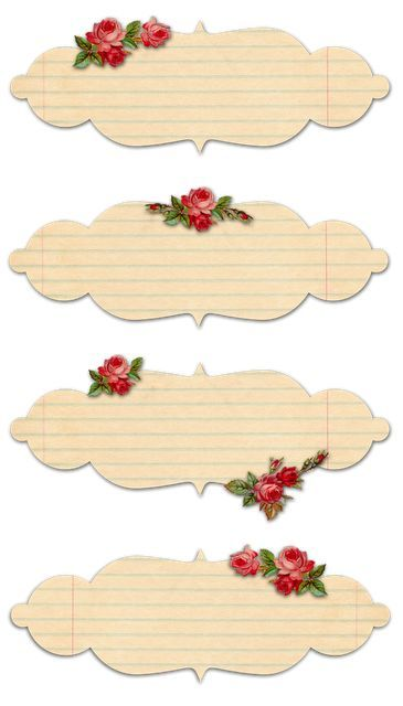 Free Printable Vintage Rose Labels …Think these may be pretty used as music sheet cutouts… and replacing the flowers with Musical Notes.