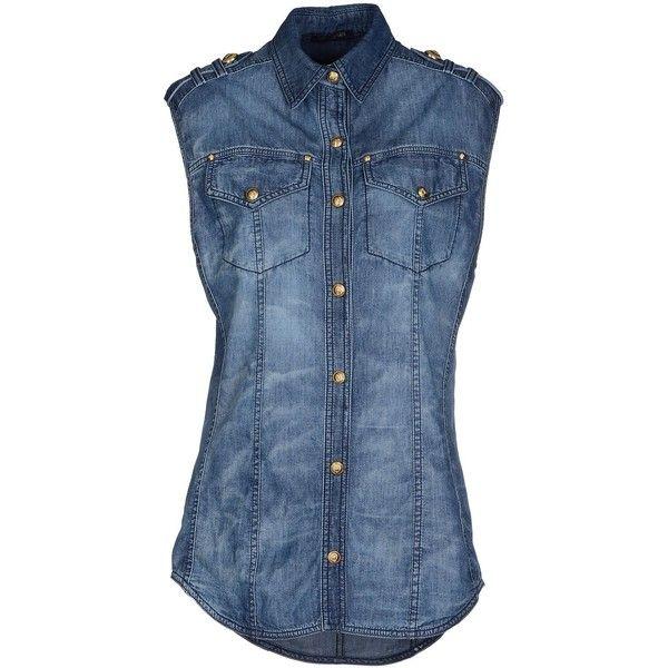 Balmain Denim Shirt ($549) ❤ liked on Polyvore featuring tops, blue, sleeveless…