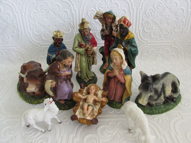 Italian Natvity Set, Vintage Italian Nativity Set, Eleven Piece Italian Nativity Set, Italian Composition Nativity Set, Nativity Set by OpenTwentyFourSeven on Etsy
