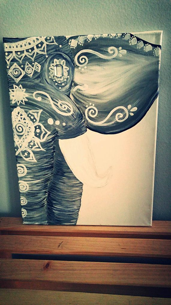 Silver Bohemian Elephant Painting Elephant Paintings