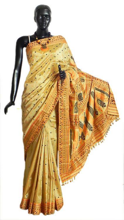 Light Beige Assam Silk Saree with All-Over Boota and Weaved Designer Border and Pallu (Silk))
