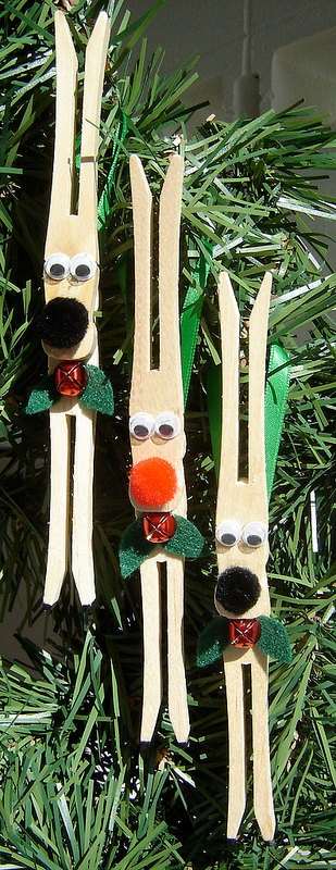 Set of 3 Clothespin Reindeer Christmas Ornaments by honoluluhoneybaby, $12.00