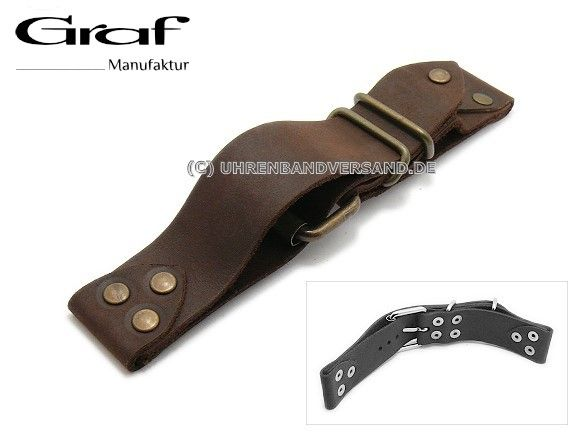 Watch strap Alfa 22mm dark brown leather aviator look with rivets brass coloured by GRAF