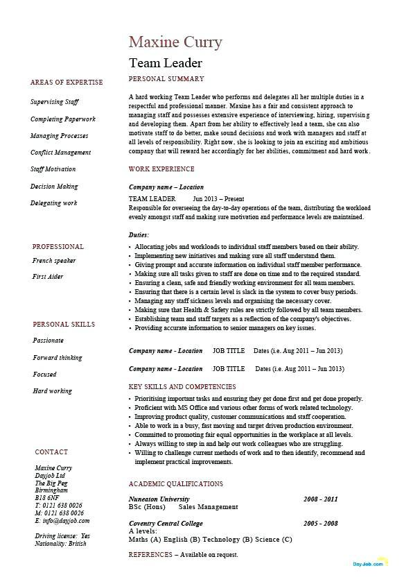 Leadership 4-Resume Examples Manager resume, Job resume, Job