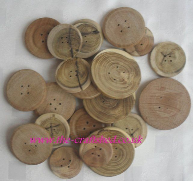 Hand Crafted 20 WOODEN BUTTONS (2 and 3 holes) - Mixed Sizes and woods £5.00