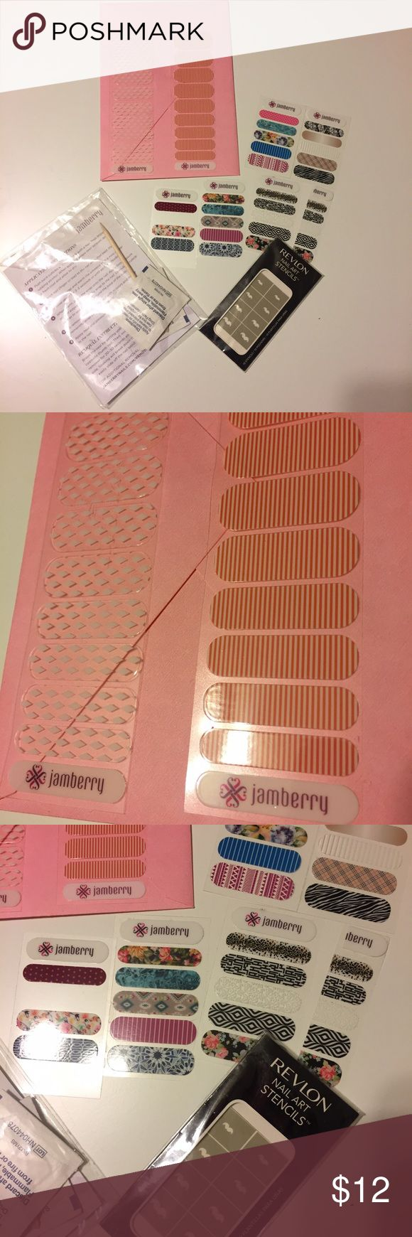 Jamberry nail wraps (4 sets) and stencils Never used nail wraps. Just couldn't get into the wrap application. Comes with nail kit. Two half wraps and extra single patterns. Also including a mustache stencil and two nail rock wraps. jamberry Makeup