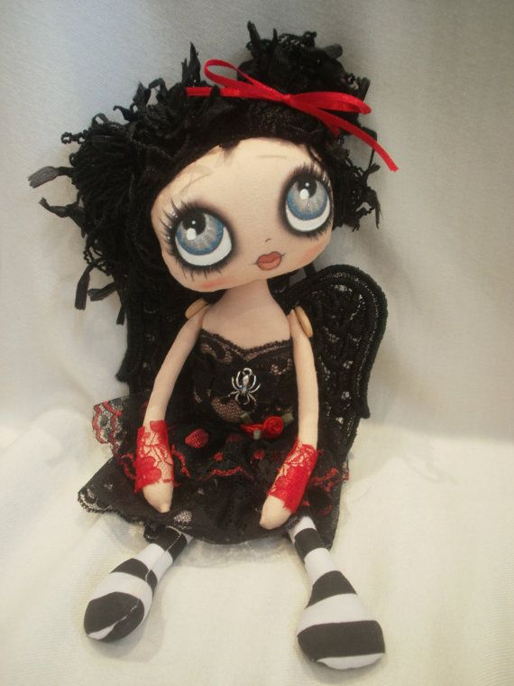 Robyn Cute Gothic Angel Cloth Rag Doll by lesleyjanedolls on Etsy