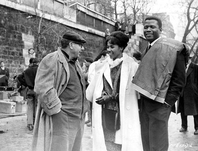 Sixties | Director, Martin Ritt, Diahann Carroll and Sidney Poitier between shots of Paris Blues, 1961