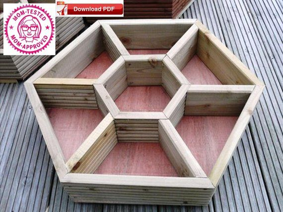 Honeycomb Planter Plan Wood Planter Plan Divided Planter Etsy Wood Planters Patio Planters Raised Planter