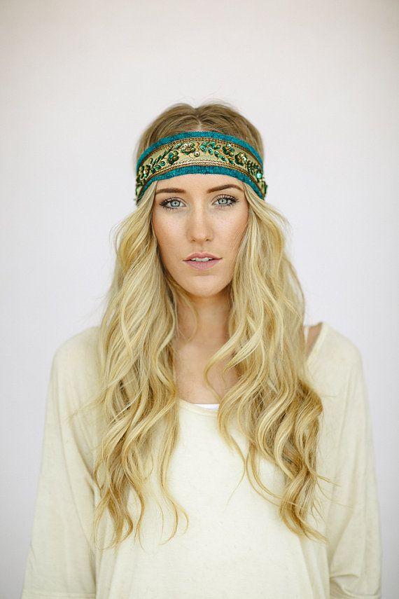 Bohemian BEADED Indian Ribbon Headband Head Wrap Women's Fashion Hair Accessories Jacquard Emerald Bohemian Hair Band