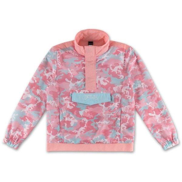 Camo Anorak Jacket Candy ($70) ❤ liked on Polyvore featuring outerwear, jackets, camoflauge jacket, camouflage jacket, camo print jacket, camo jacket and pink jacket