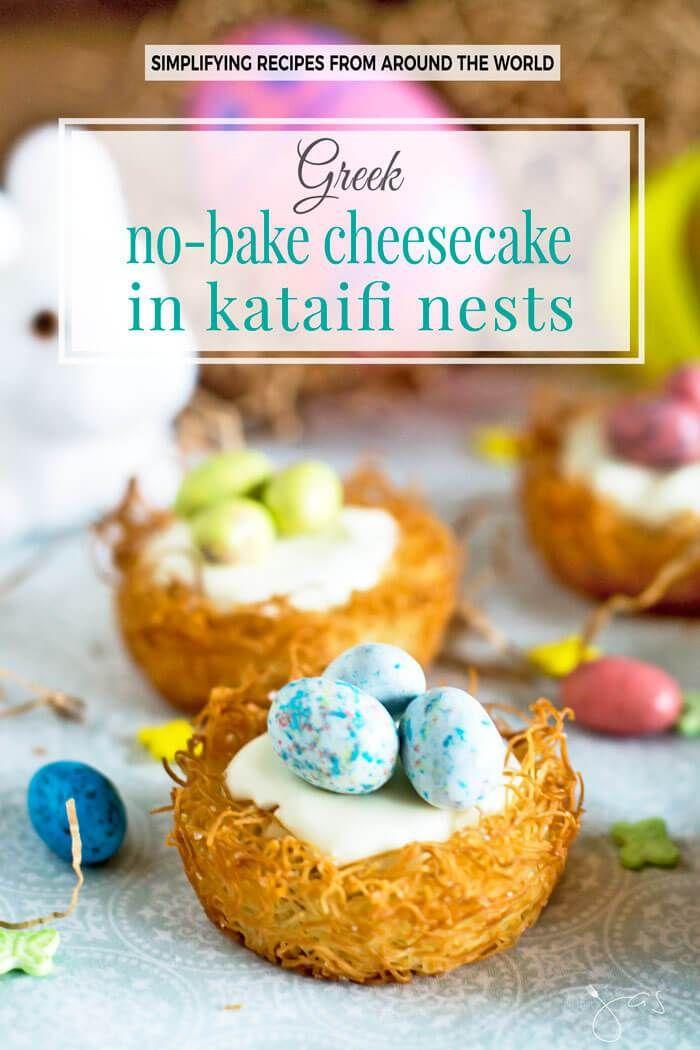 "Robin's ""eggs"" on a creamy no-bake cheesecake in a crispy kataifi fillo nest is fun and delightful seasonal treat."