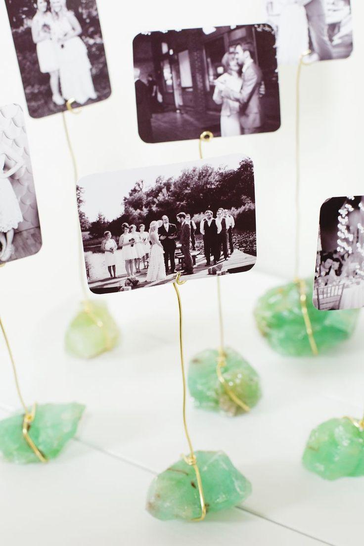 DIY photo + crystal display from A Beautiful Mess