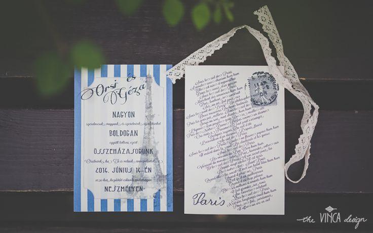 Vinca Design, France inspired wedding, wedding invitation suite, La Tour Eiffel // francia esküvő, esküvői meghívó, Eiffel-torony