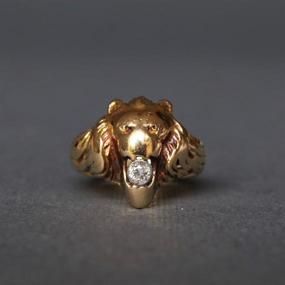 ca64f3720a9d5 Antique Art Nouveau diamond and 14ct gold figural lion head ring ...
