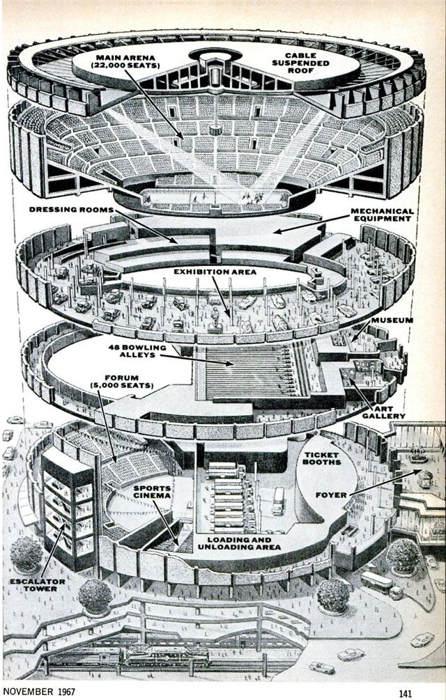 Madison square garden exploded view drawing 1967 for Roof garden floor plan