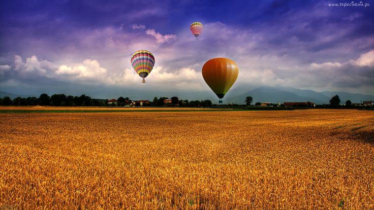 Balony, Pole, Zboże, Chmury