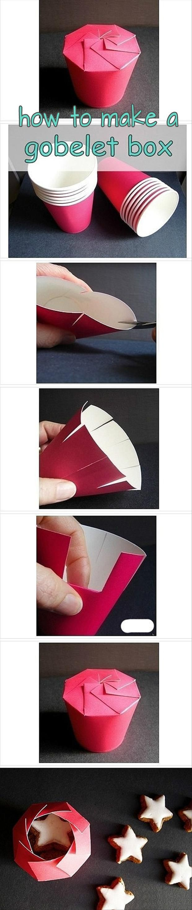 a how to make a box to give muffins or cookies.  Use a paper drinking cup in any color, cut off the top, make some incisions in the sides and presto!   PinFive