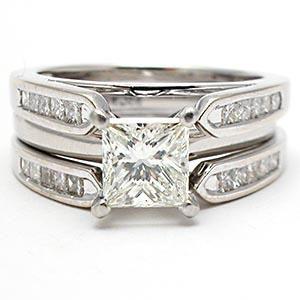 1 CARAT PRINCESS CUT DIAMOND SOLITAIRE ENGAGEMENT RING BRIDAL SET SOLID 14K WHITE GOLD