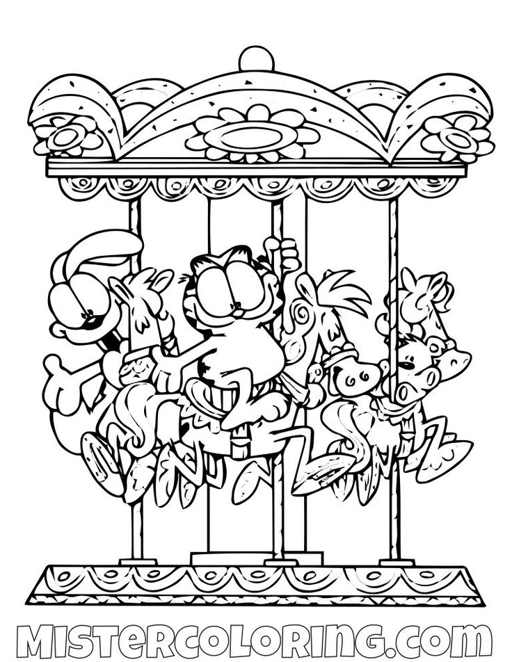 Garfield And Odie In A Carousel Coloring Page | Coloring ...