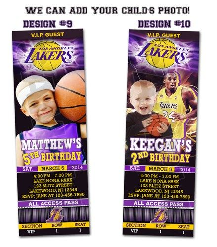 LA Lakers Ticket Birthday party invitations - Printable | BLiTzDesignz - Digital Art  on ArtFire