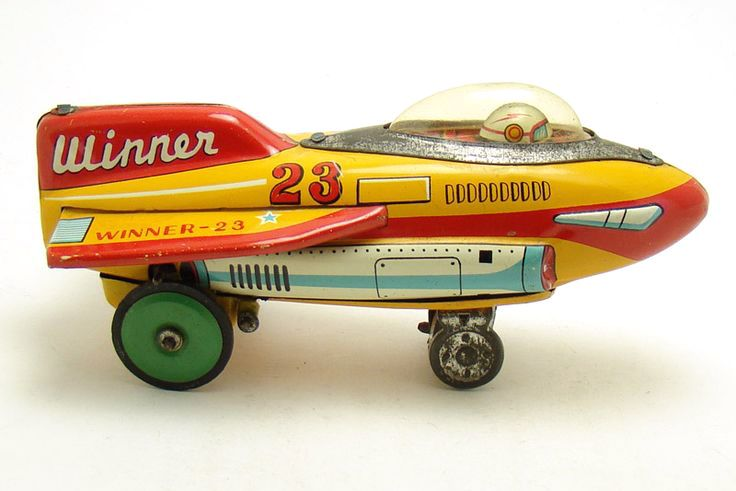 Vintage Space Toys : Quot winner vintage tin toy rocket and retro