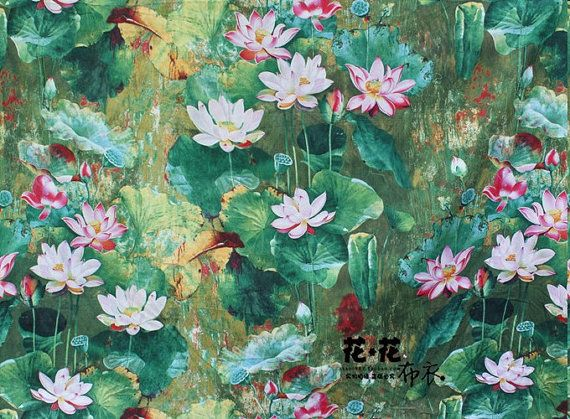 Lotus fabric, cotton linen fabric, linen cotton fabric, half yard / 0.5m, floral fabric,Chinese style on Etsy, $5.00