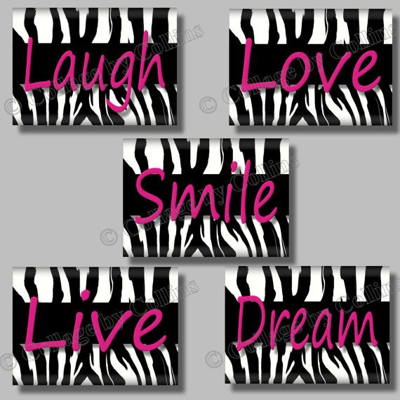 Pink Zebra Print SMILE Dream LIVE Love LAUGH Quote Art Girl Room Wall Decor  Collagebycollins Collage By Collins