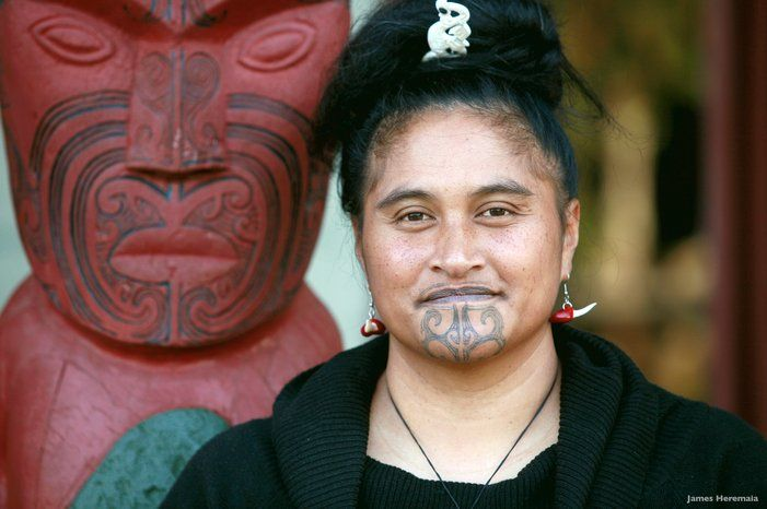 Moko Tattoo Meaning: Young Maori Woman With Traditional Moko Tattoos. Credit