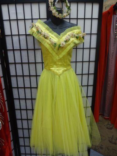Yellow-Crinoline-satin-50-039-s-vintage-ballet-dress-costume-Flower-HAT-FAIRY-Dancer